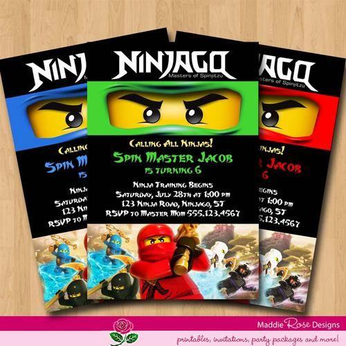 Lego Ninjago Birthday Party Google Search: Lego Ninjago Party Invitation Printable Free
