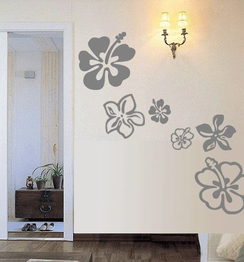 16 Hawaiian Hibiscus Flowers Vinyl Wall Art Decal By