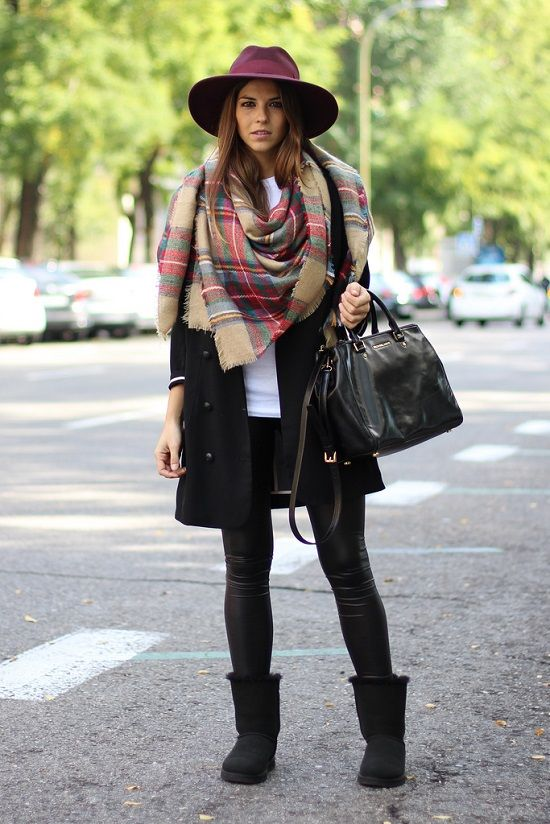 Black coat, white top, black leggings, short black Ugg boots, black handbag & camel/red/green blanket scarf