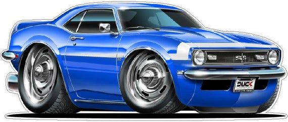1968 Camaro SS Classic Car Wall Vinyl, Classic Car Wall Decal, Man Cave Wall Decor, Vintage Car Wall Decal, Gifts for Men