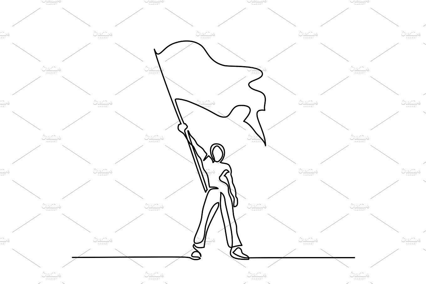 Man Holding Flag Flag Drawing Color Pencil Drawing Continuous