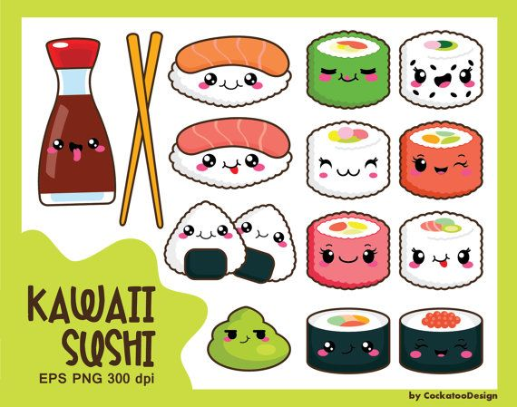 50OFF SALE Kawaii Clipart Sushi By CockatooDesign
