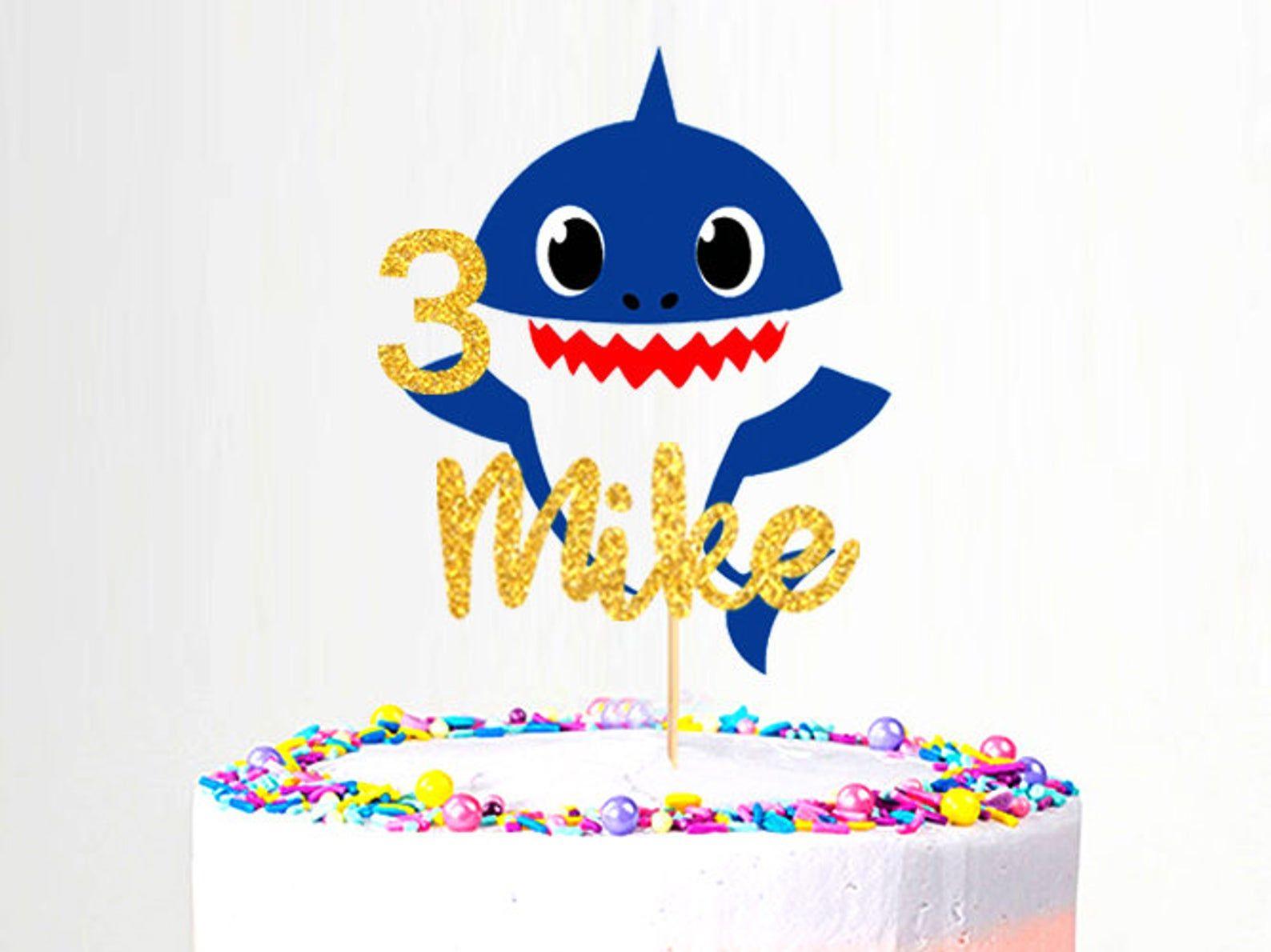 Baby shark cake topper etsy shark cake dragon