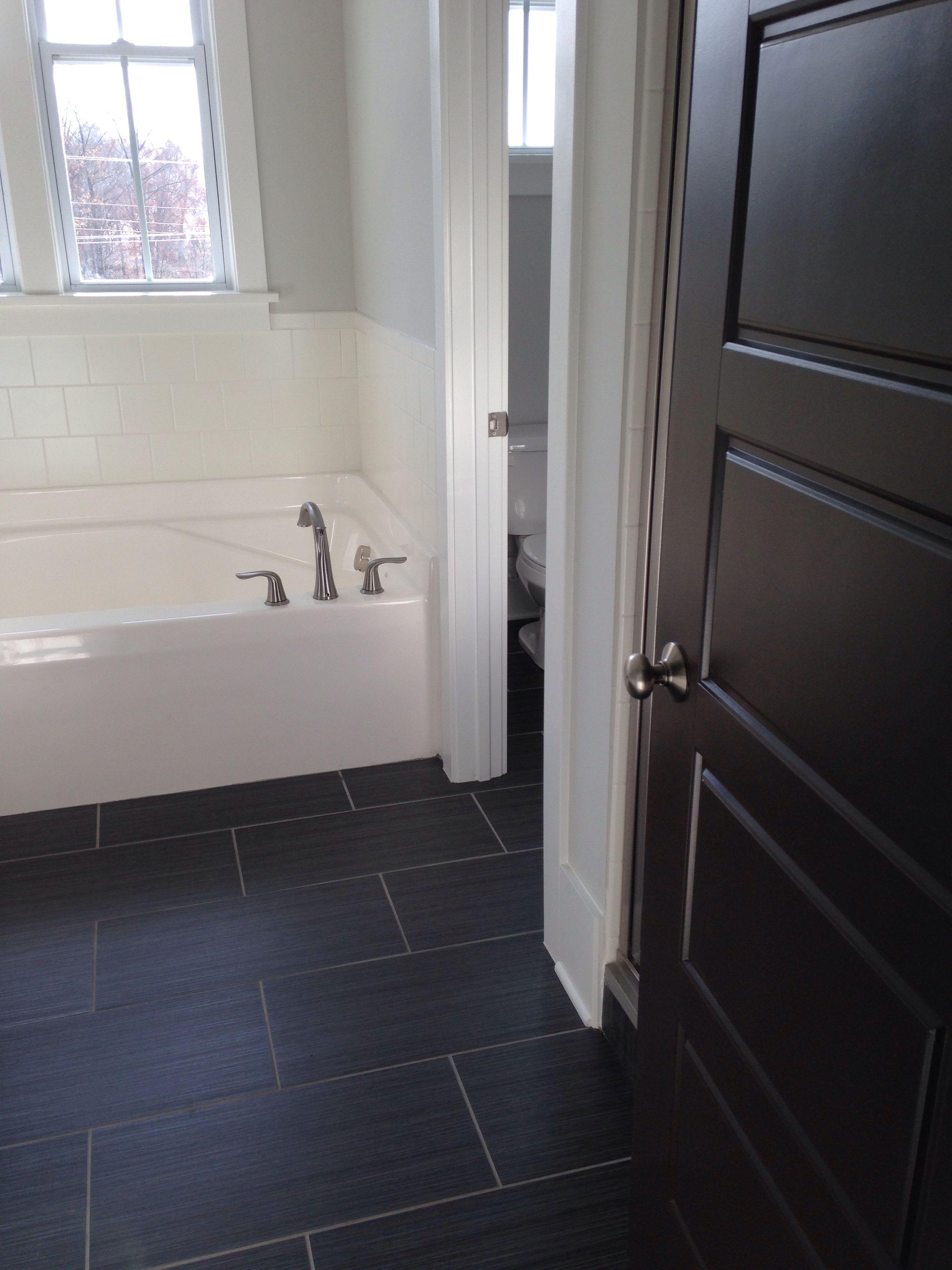 Master Bathroom Dark Tile Dark Doors, I Like The Tile And