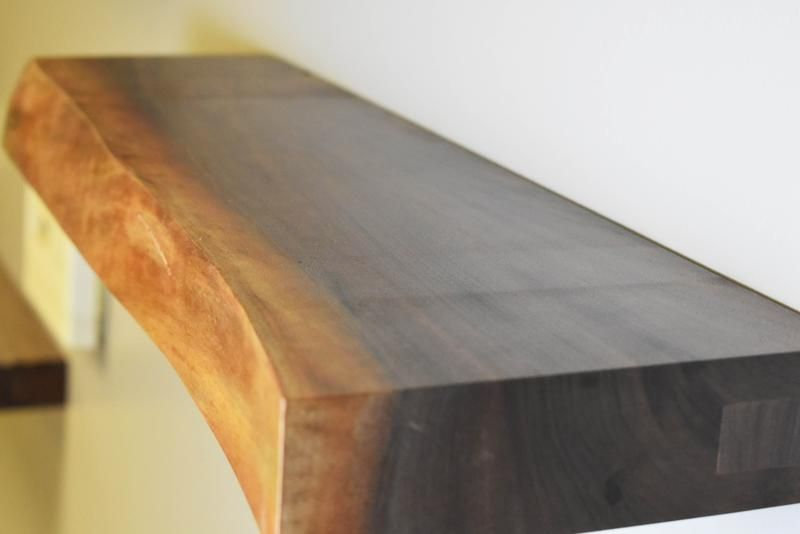 Cherry Live Edge Floating Shelf 390 Concealed Mounting