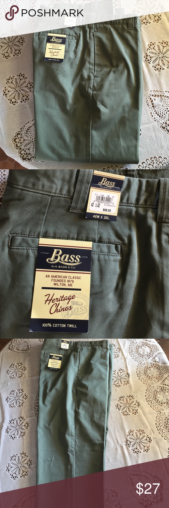 Men's Bass Cotton Green Flat Front Chino's 42x32 NWT men's Bass flat front 100% cotton chinos.  Size 42x32 from the Heritage Collection. Two back button pockets. Bass Pants Chinos & Khakis