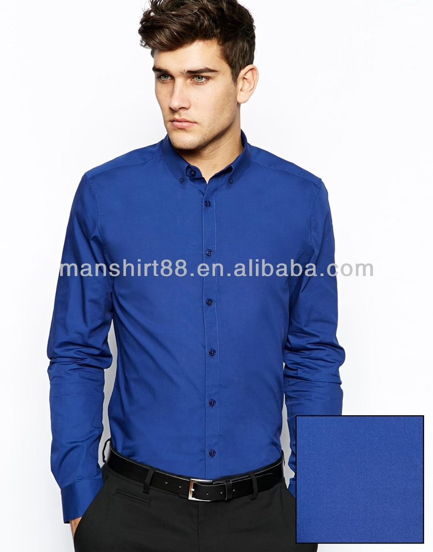 Lasted Wholesale Royal Blue Button Up Collar Long Sleeve Slim Fit ...