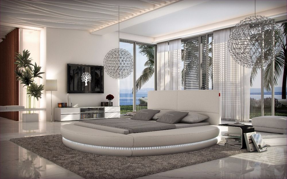remote control contemporary modern leather LED round bed ...
