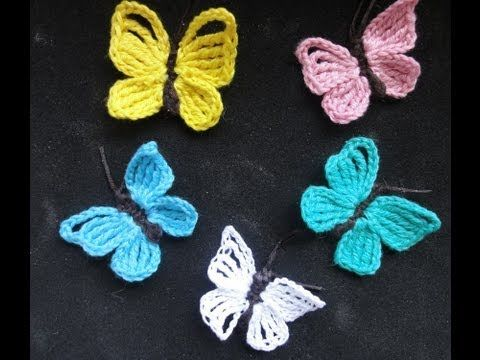 Schmetterling häkeln * Anleitung * Crochet Butterfly [eng sub ...