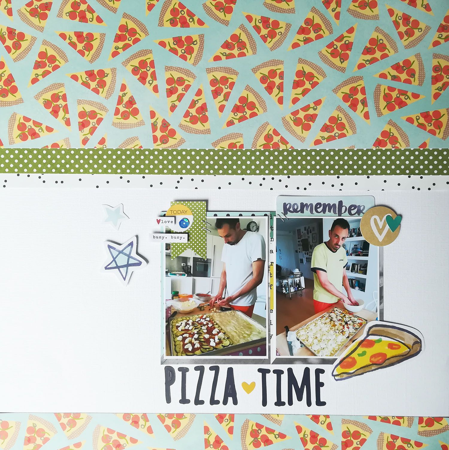Pizza time pebbles happy day collection 12 x 12 double sided paper wood fire