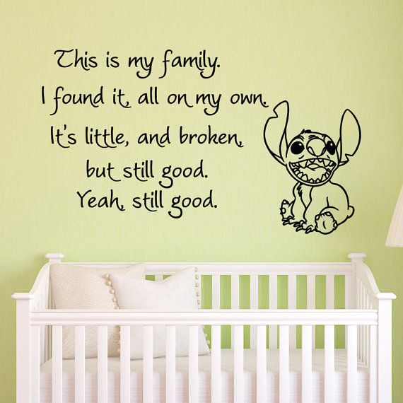 Vinyl Wall Decals Quotes Lilo and Stitch This Is My Family I Found ...