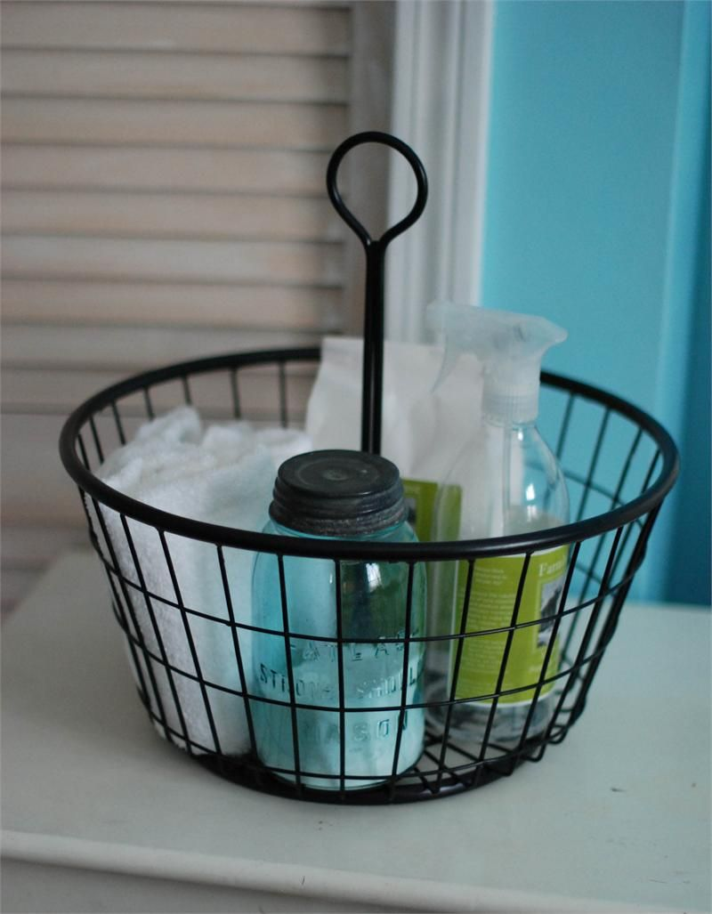 Black Wire Egg Basket - cleaning supplies under bath cabinet or in ...