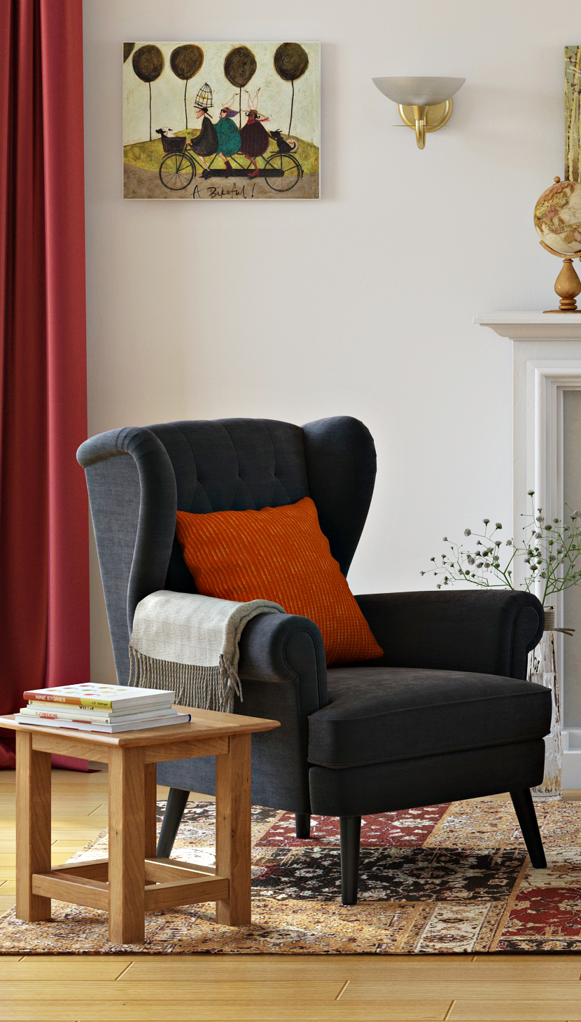 Classic wingback armchair with a buttontufted back