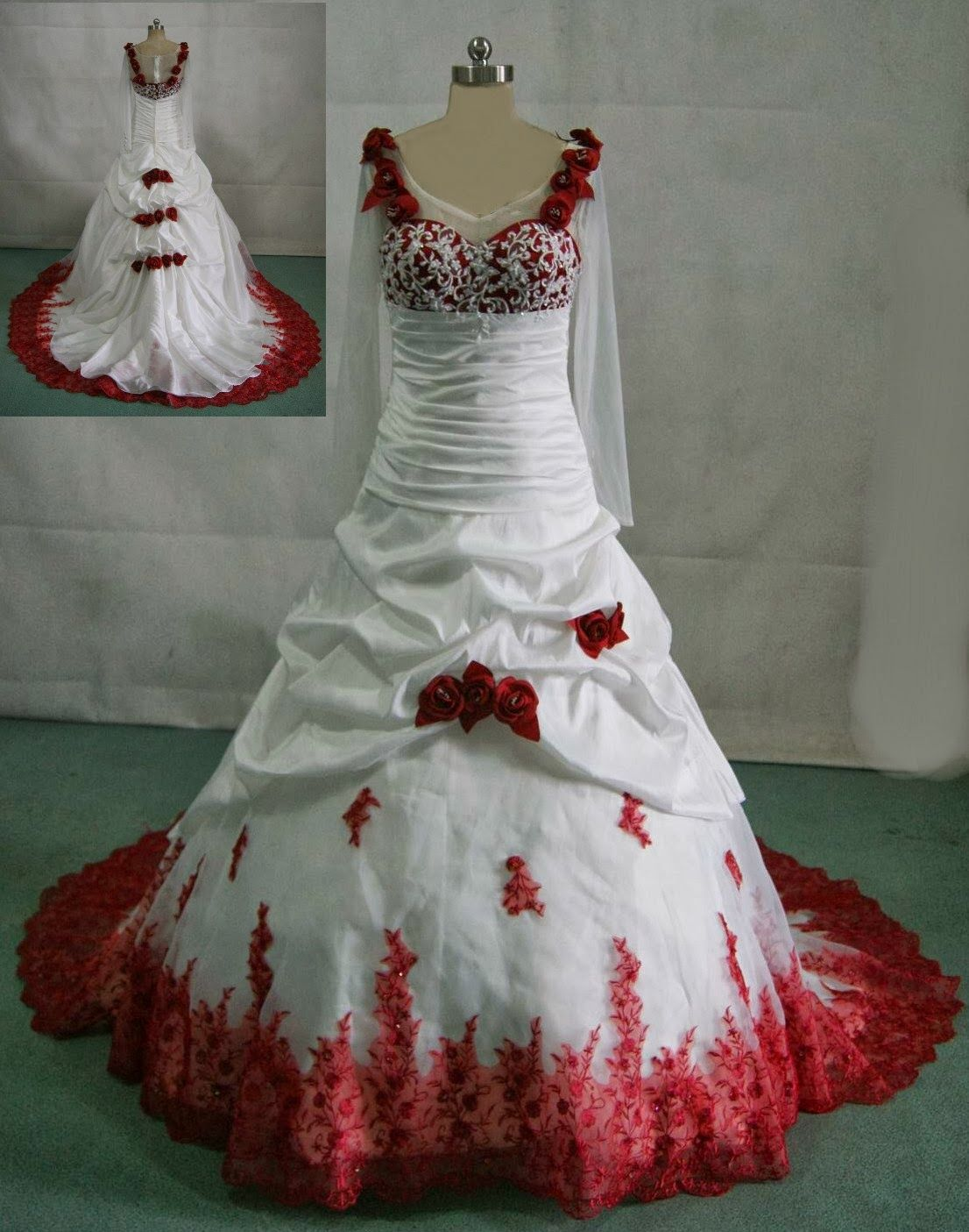 plus size white wedding dress with red accents | Wedding Ideas ...