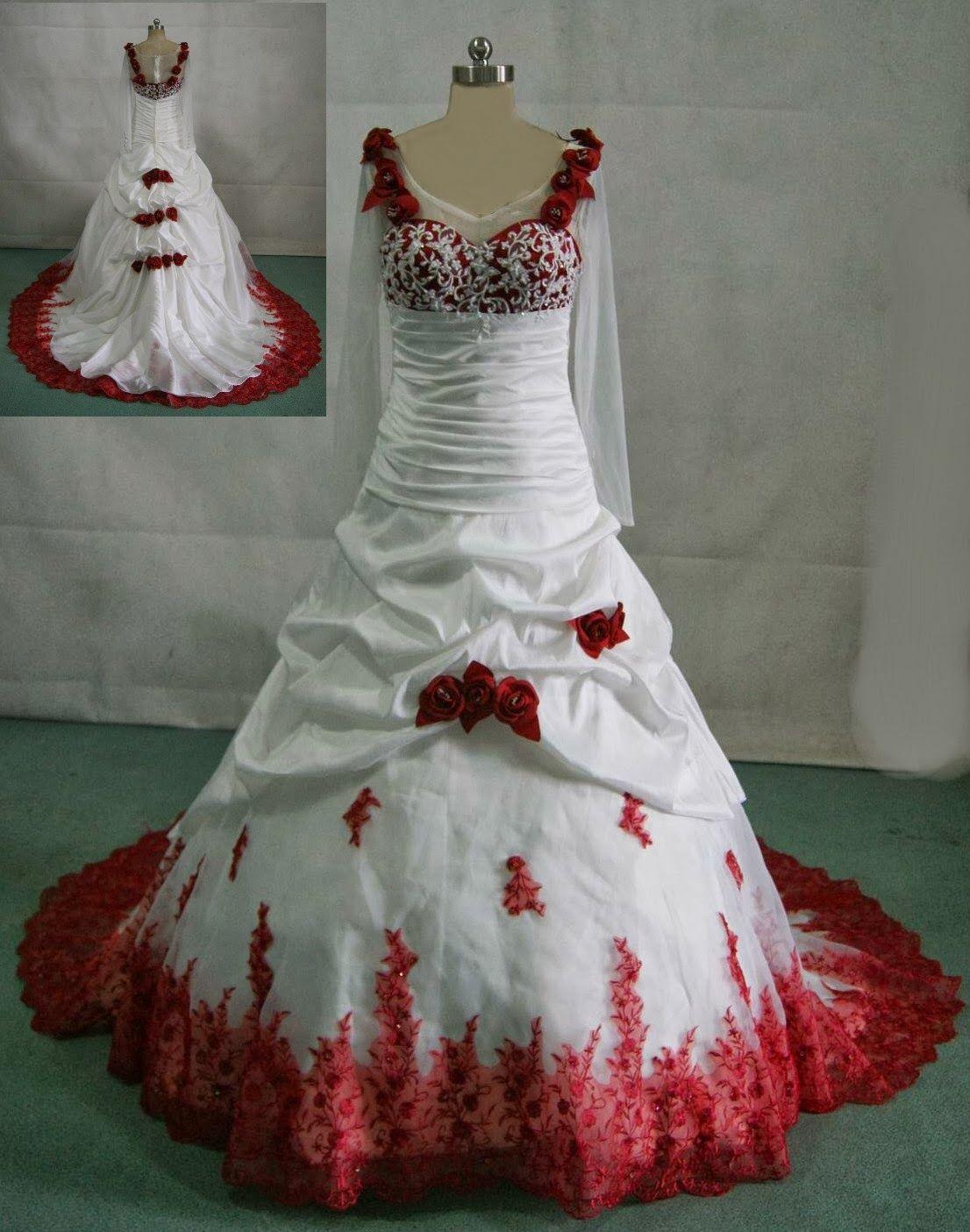 Plus size wedding dresses with red accents  plus size white wedding dress with red accents  Vestidos de novia
