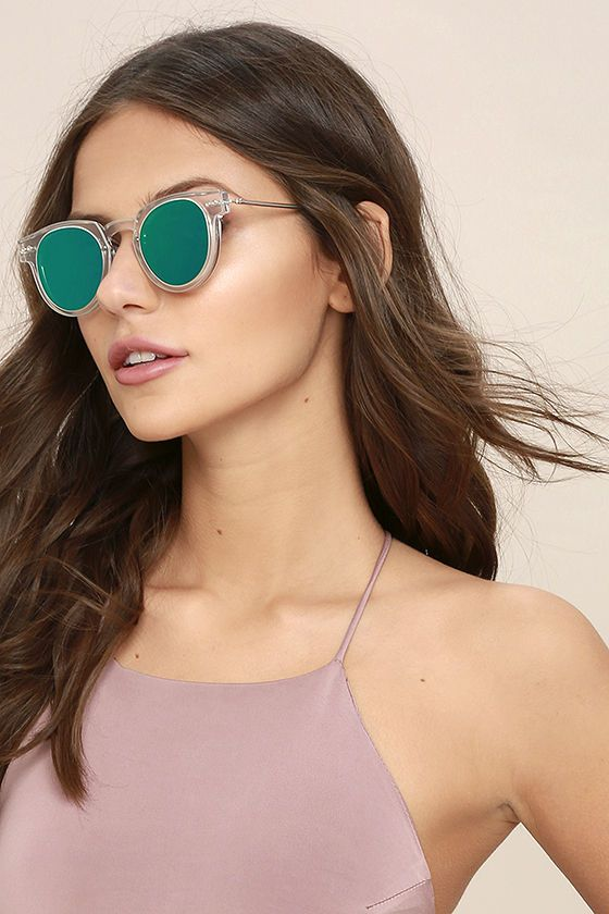 368bd43c602a Spitfire Sharper Edge 1 - Clear and Green Sunglasses - Mirrored Sunglasses  - Flat Lense Sunglasses -  59.00