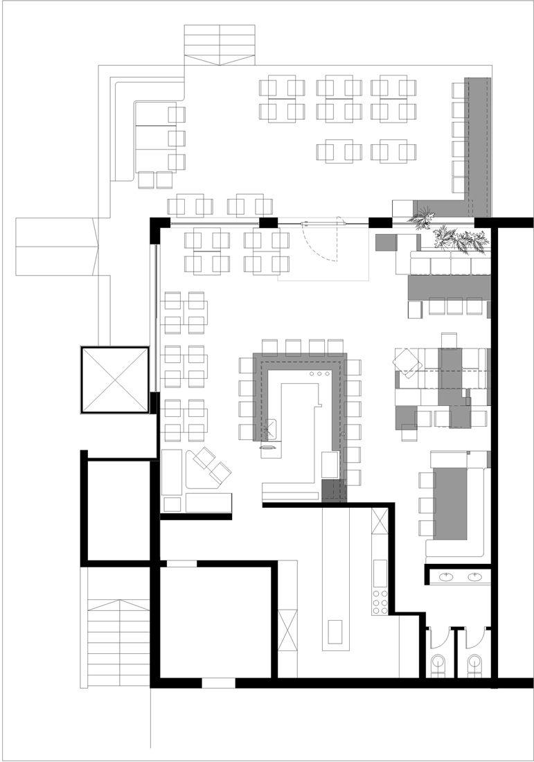 Small restaurant kitchen floor plan - Floor Plan Theodore Cafe Bistro So Architecture