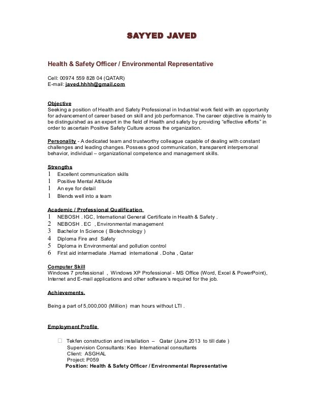 SAYYED JAVED Health \ Safety Officer   Environmental - site safety officer sample resume
