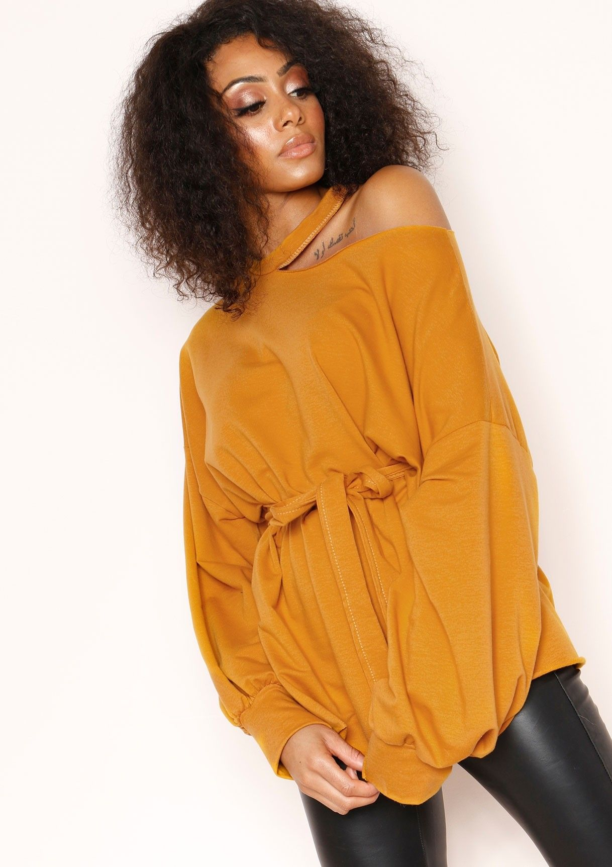 ffb9fbe317b3 Codie Mustard Cut Out Oversized Jumper | ⚡️express delivery ...