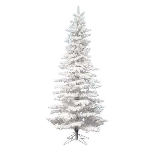 Vickerman Artificial Christmas Tree 10 X 55 Flocked White Slim 1805 Tips Slim Artificial Christmas Trees Pre Lit Christmas Tree Christmas Tree