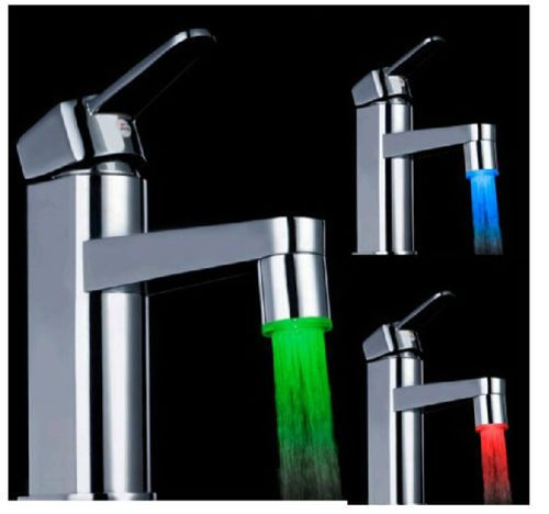 Bathroom Lighting Temperature 3 color sensor led light water faucet tap temperature for kitchen