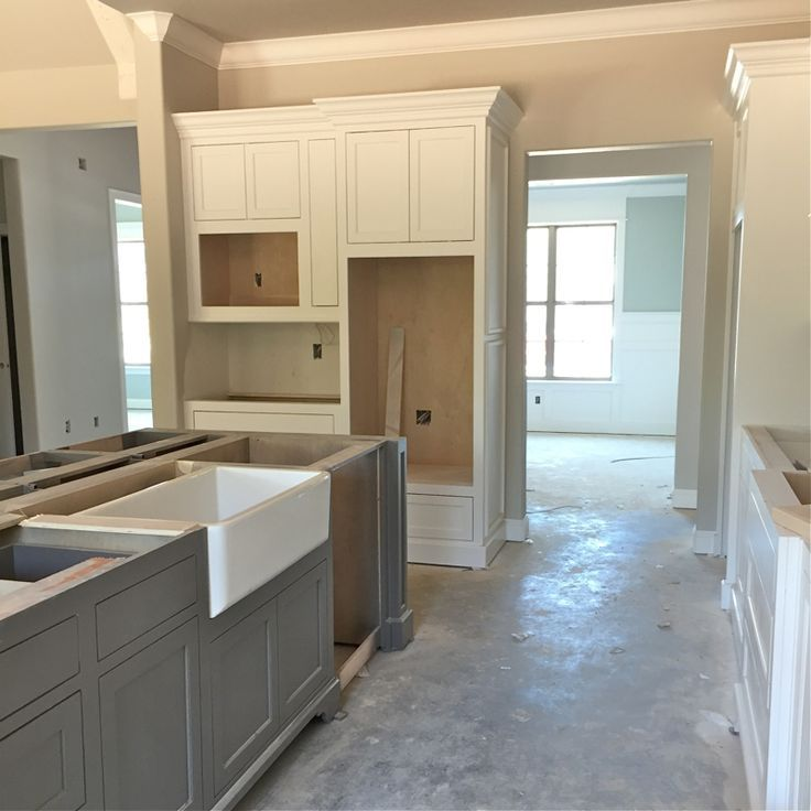 Grey Kitchen Walls With White Cabinets: SW Agreeable Gray; Island