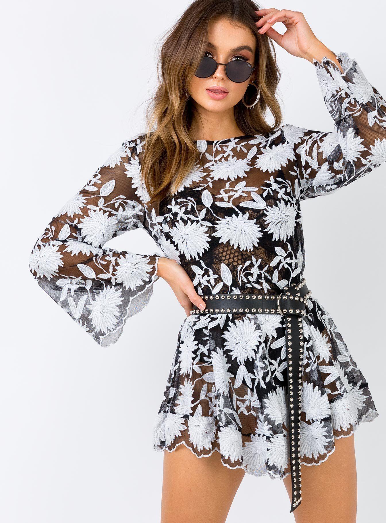 Indigo Skies Lace Mini Dress Black Black/White US 0