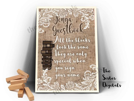 Jenga Guestbook Sign Jenga Guest Book Wedding Burlap Wedding Sign Printable Design 8x10 Jpg Di Jenga Wedding Guest Book Jenga Wedding Jenga Guest Book