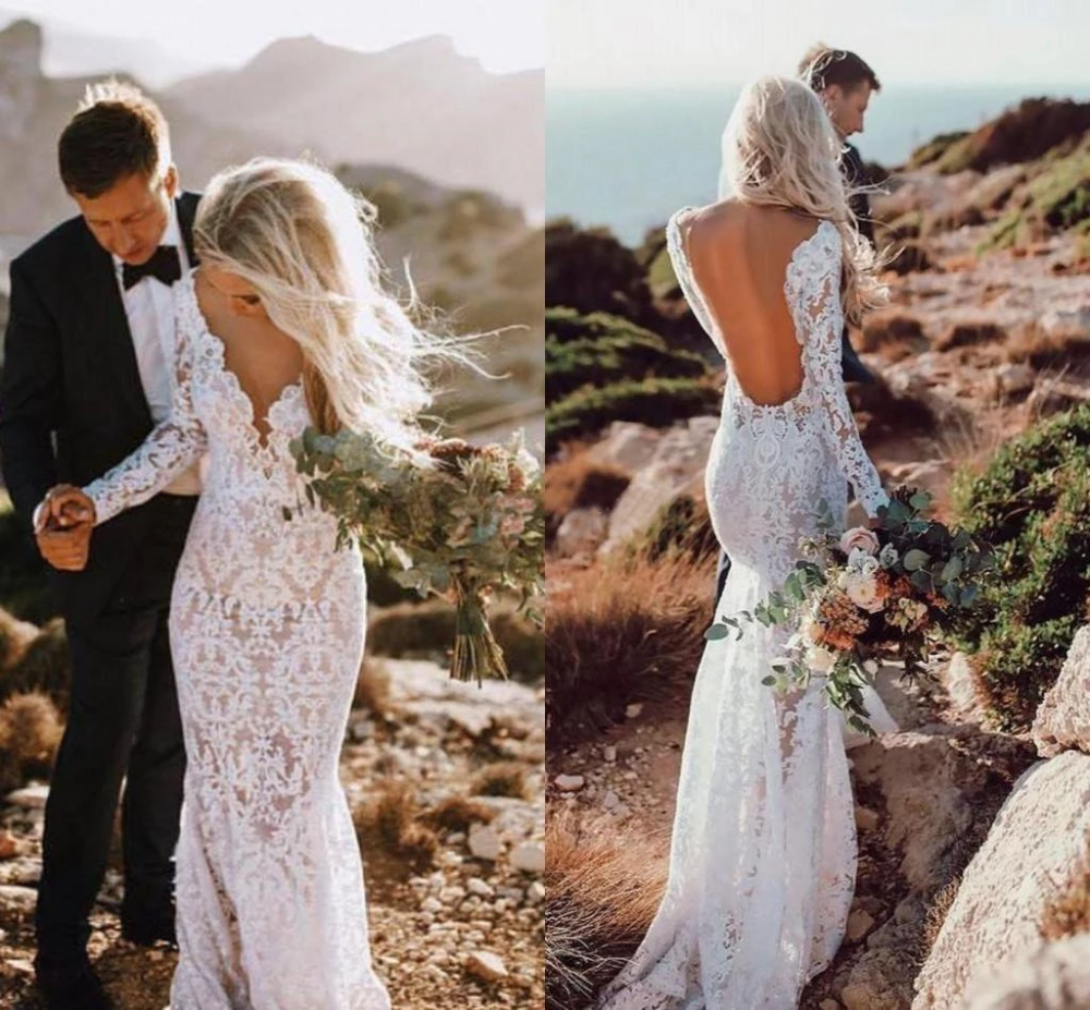 See Through V Neck Lace Rustic Wedding Dresses Long Sleeve Mermaid Wedding Dress Rs812 Long Sleeve Mermaid Wedding Dress Long Sleeve Wedding Dress Lace Lace Wedding Dress With Sleeves [ 927 x 1000 Pixel ]