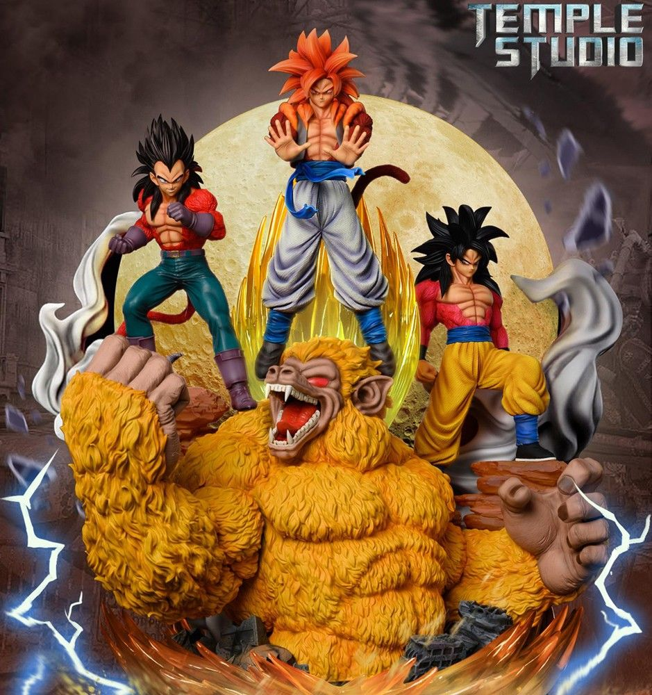 Temple Studio Dragonball Gt Goku Vegeta Gogeta Diorama Yellow Moon Ex Ver Goku And Vegeta Goku Red Moon