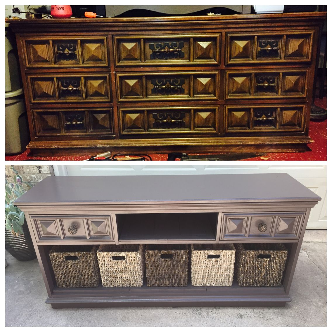 DIY old dresser turns into a beautiful tv stand! Only