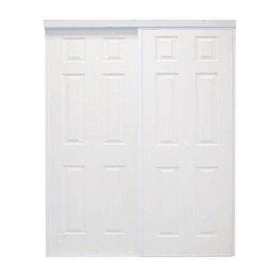 72 In X 96 In Colonial White Prefinished Hardboard Panels Steel Framed Interior Sliding Door Sliding Doors Interior Interior Closet Doors Doors Interior