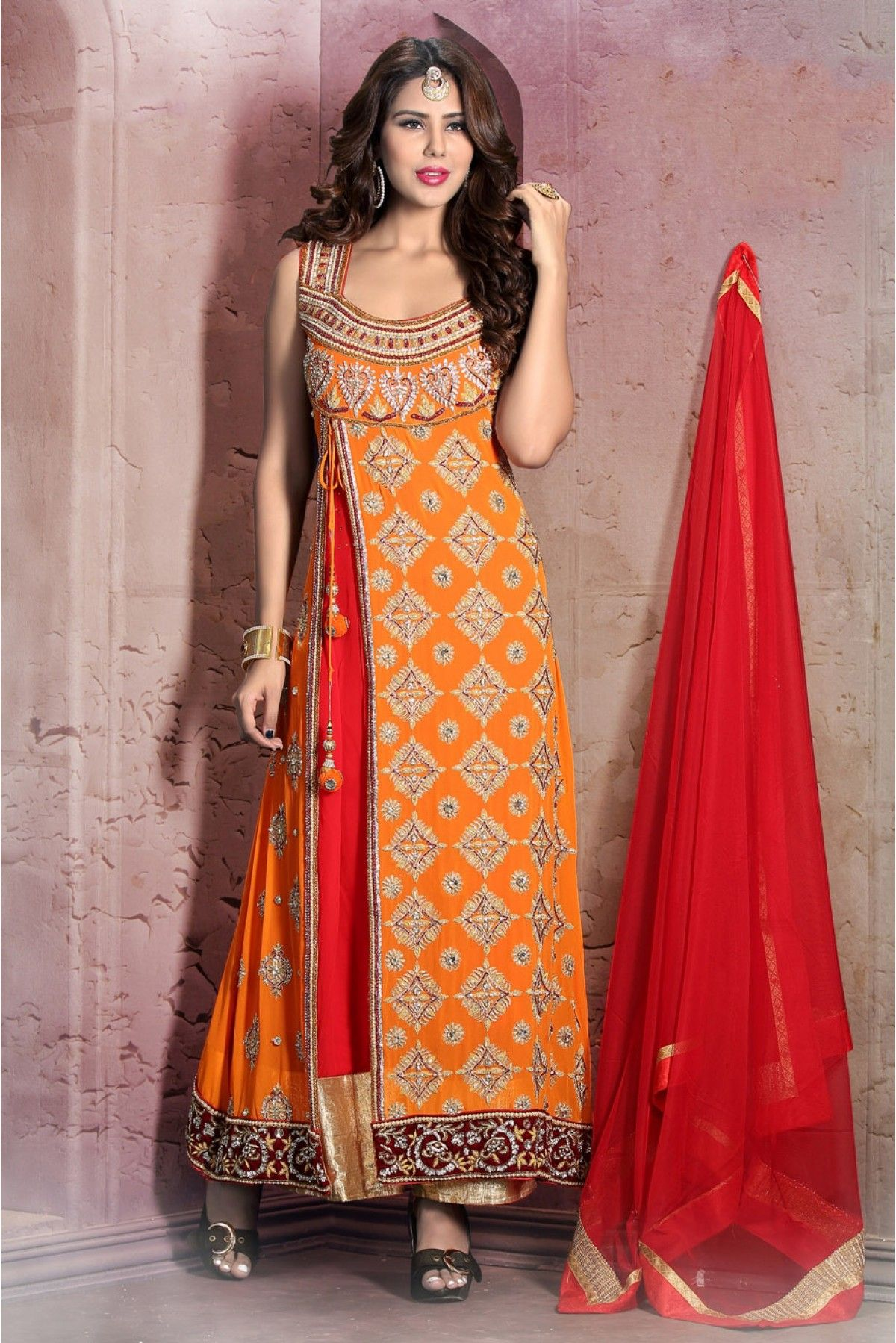 752967f08856 Orange Colour Georgette Fabric Party Wear Semi Stitched Anarkali Suit Comes  With Matching Bottom and Dupatta. This Suit Is Crafted With Cut Dana