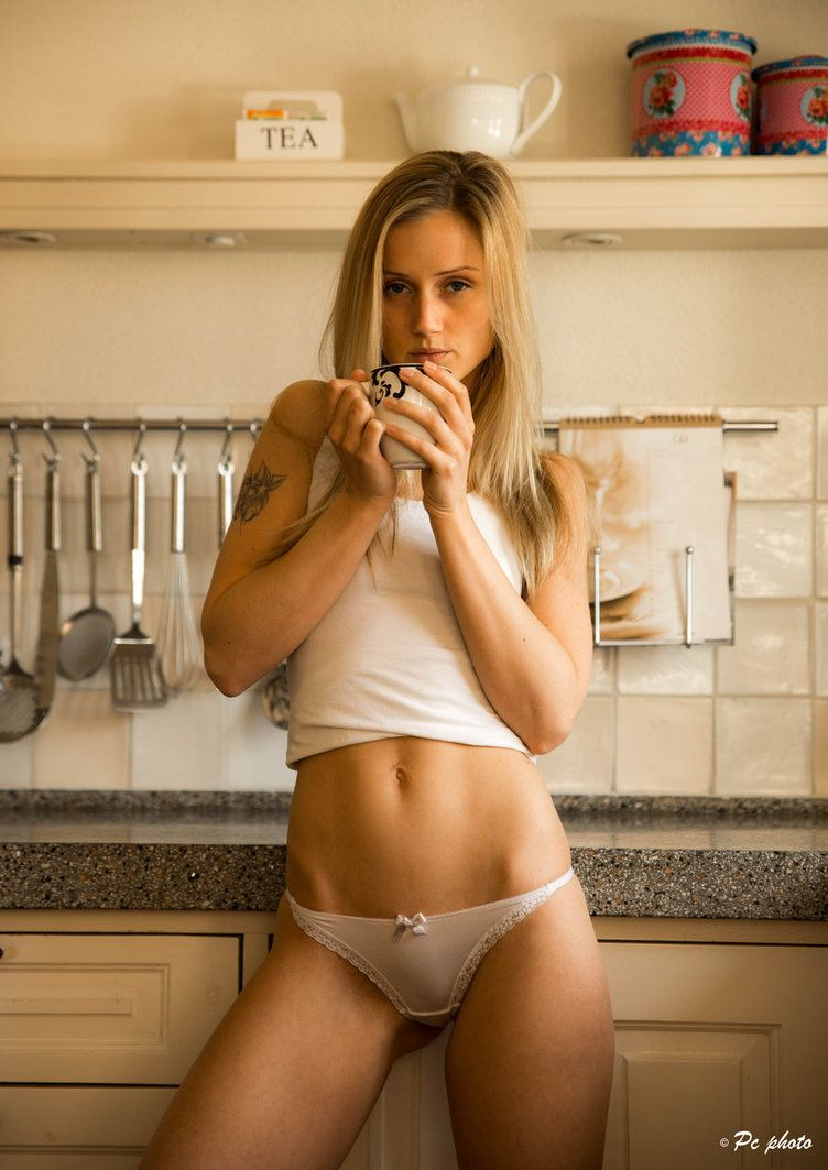 Sexy Petite Blonde Great Body Nice Abs Hip Bones Panties Coffee In The Morning Tattoo Kitchen