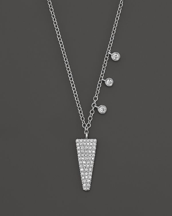 5b4b7646fca90 Meira T 14K White Gold Pave Diamond Hanging Triangle Necklace, 16 ...