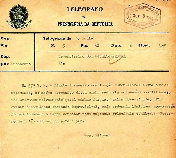 Telegrama sobre término das hostilidades entre paulistas e União.