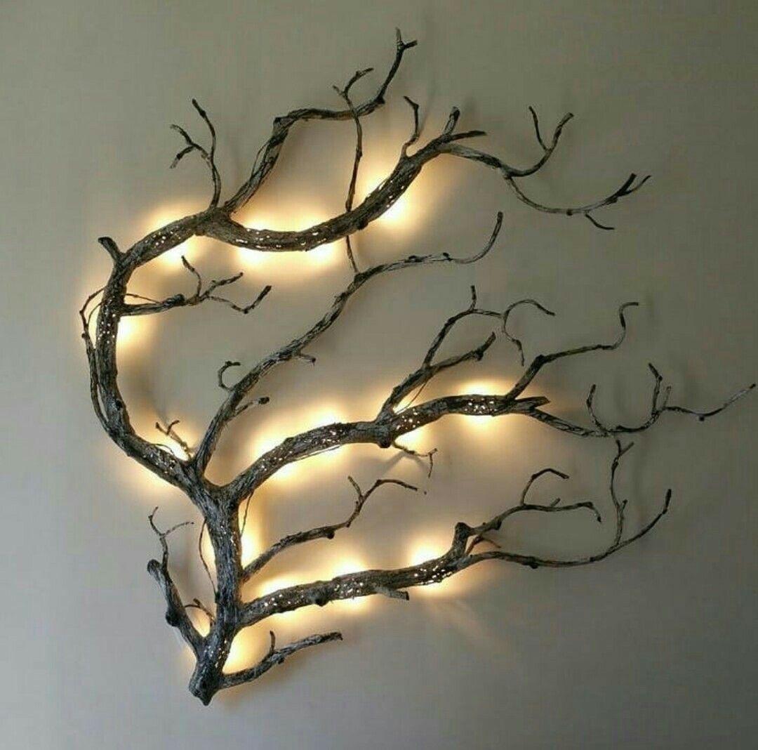 DIY Wall Art - Rustic Lighted Tree Branch