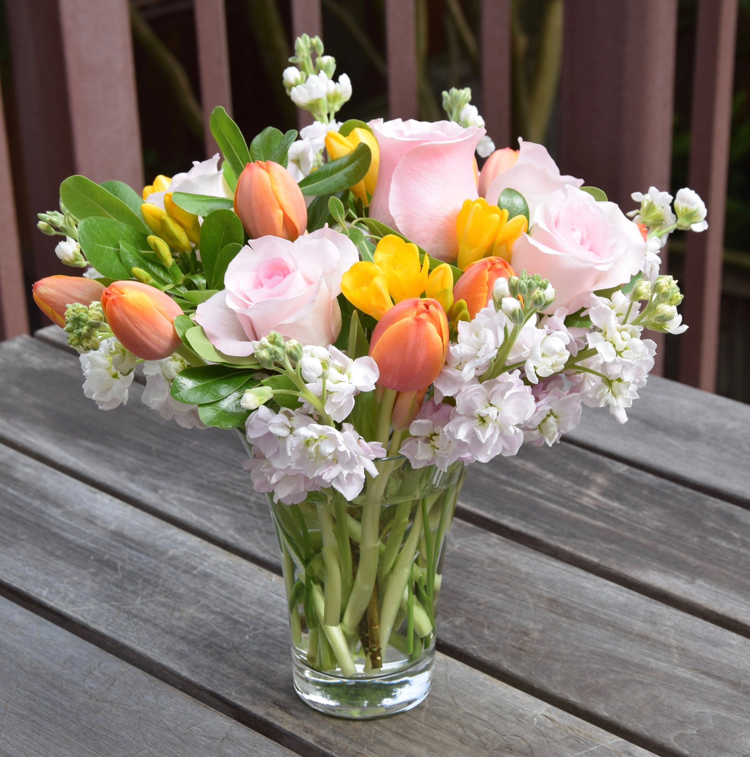 Mother S Day Flower Arrangement With Stock Roses Freesia And Tulips White Flower Arrangements Rose Floral Arrangements Fresh Flowers Arrangements