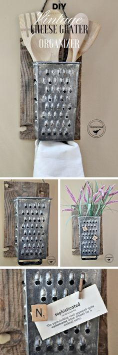 Check Out The Tutorial Diy Vintage Cheese Grater Organizer