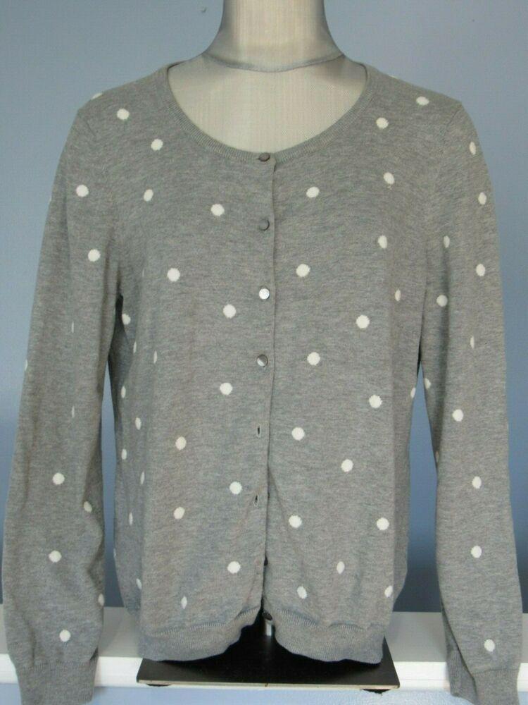 Talbots cardigan sweater XL Gray White Polka Dots Pima Cotton Long sleeve  GUC  Talbots   99e7c5114