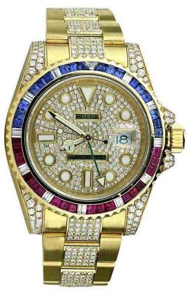 a41729af5 Rolex GMT Master II 116718 18K Yellow Gold Pepsi Diamonds/Rubies/Sapphires  Bezel Watch