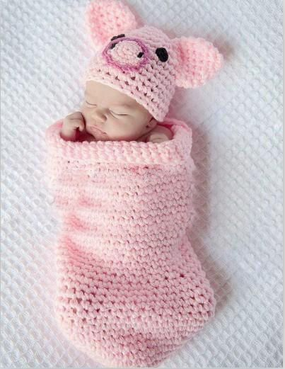 Cute Baby Infant Knitted Pig Piggy Costume Photo Photography Prop Newborn L45  #unbrand