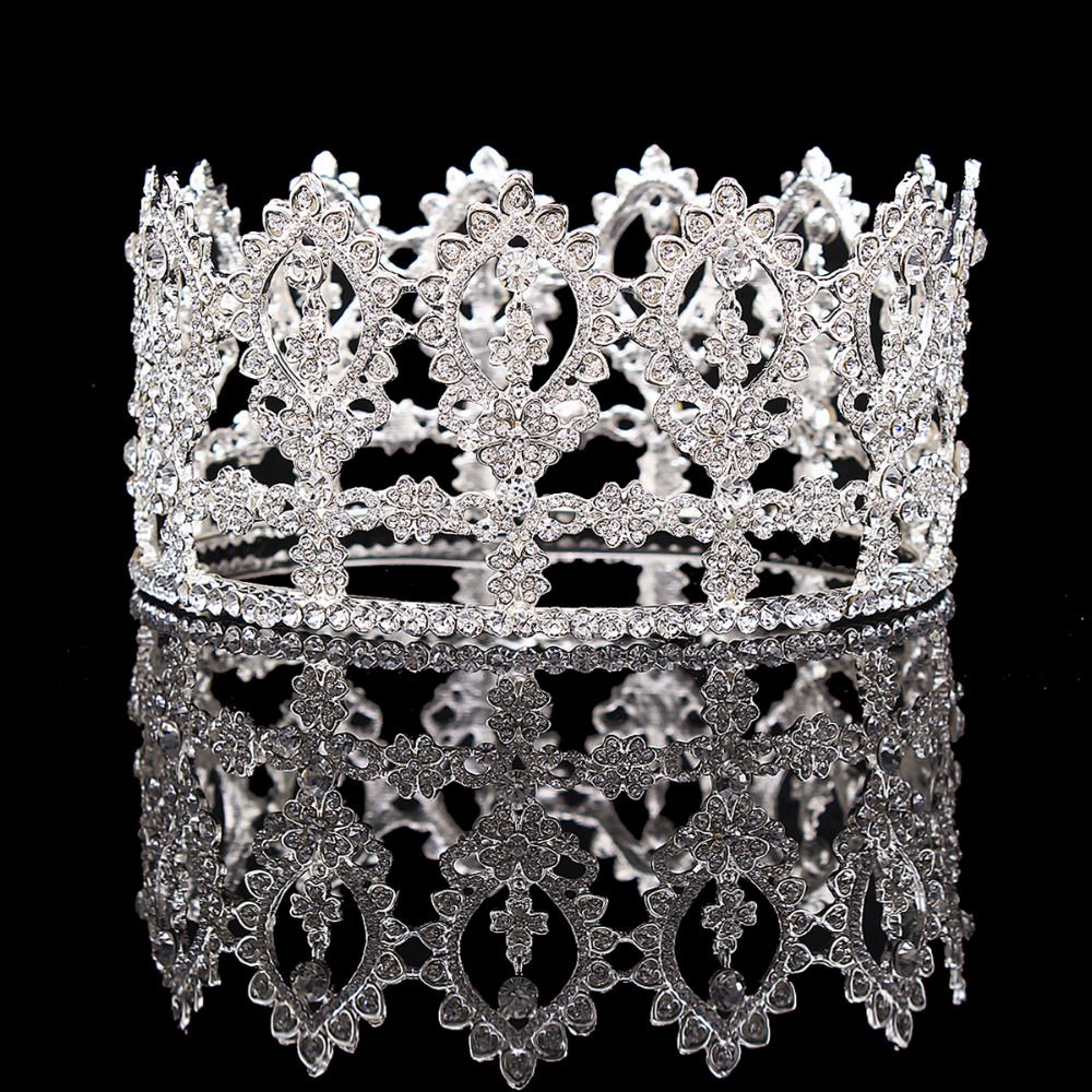 Find More Hair Jewelry Information About Wedding Tiara Crystal Full Round Crowns Bridal Pageant Party