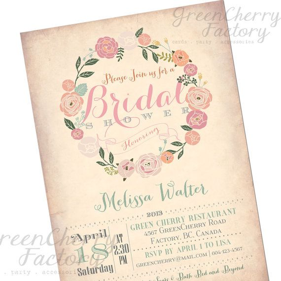 Bridal Shower Invitation - Vintage Peach Background - Wreath Spring Summer Floral Mint Coral Pink Flower - Printable Invitation - No.170 via Etsy