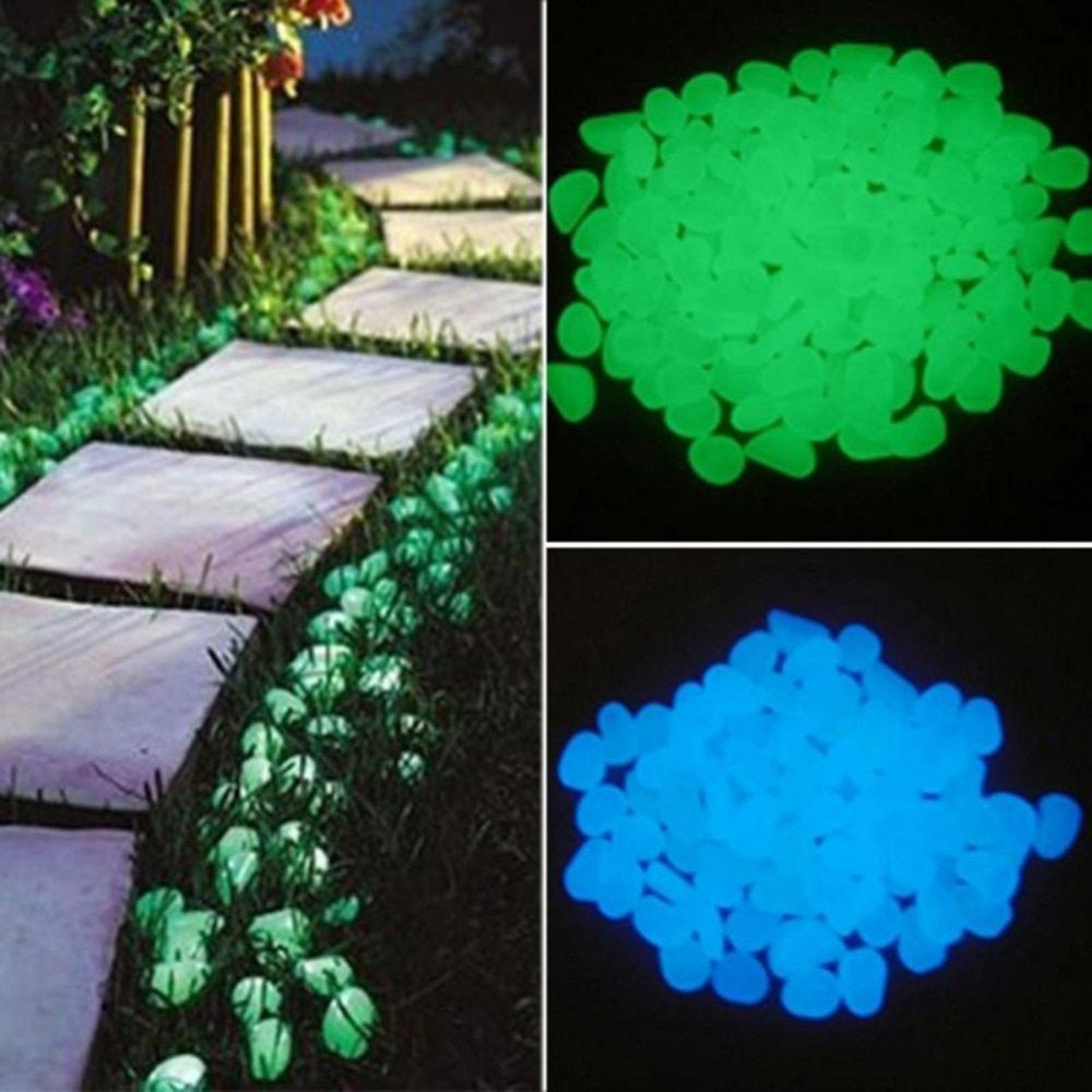 100pcs Magical Garden Decor Glow In The Dark Pebble Stone Luminous Rocks Decor