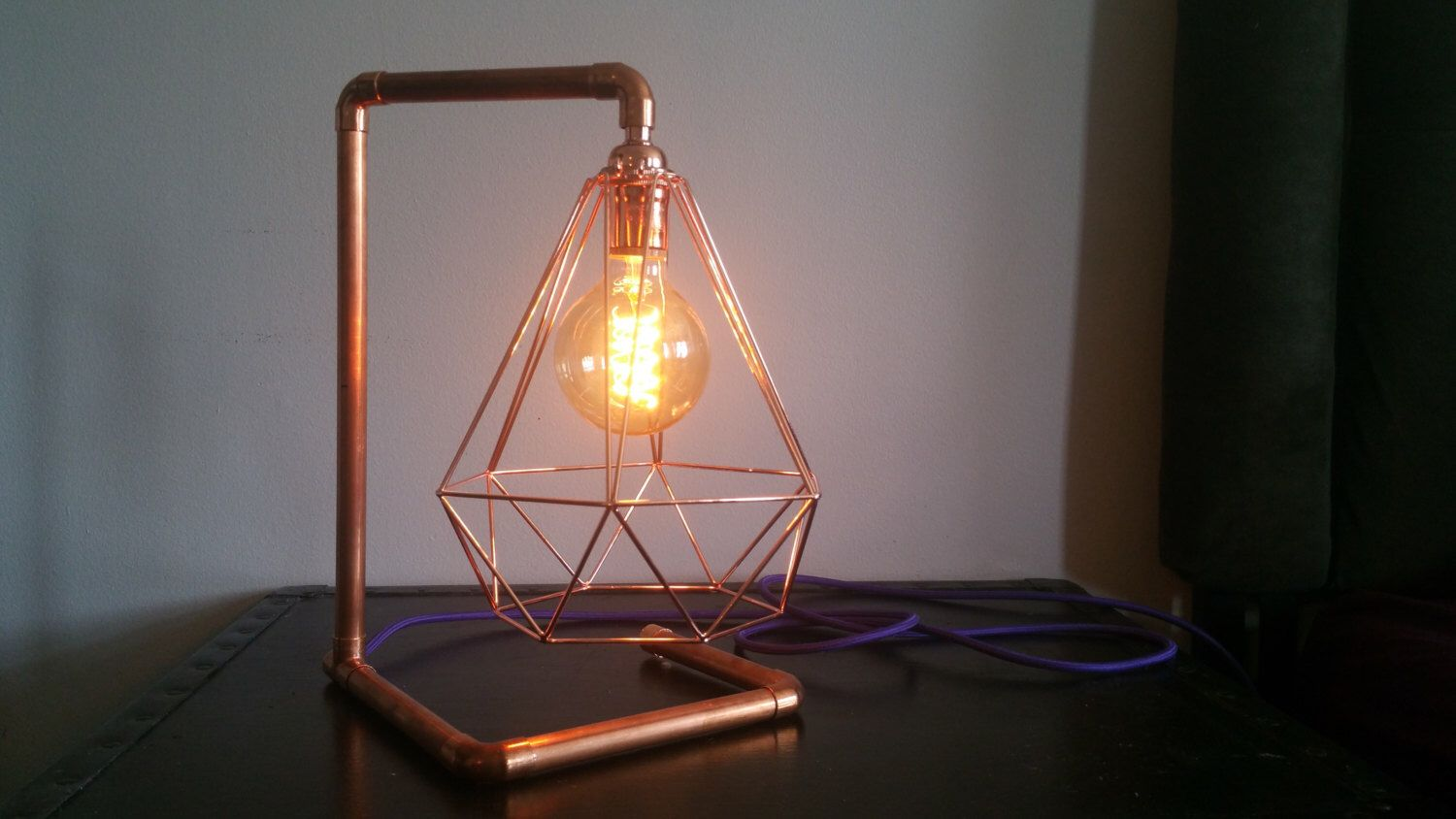 Copper Pipe Industrial Table Lamp - Vintage Lamp Antique Table Lighting Vintage Accent Light with Copper Pipe Antique Edison Bulb Table Lamp by HangoutLighting on Etsy https://www.etsy.com/listing/294015685/copper-pipe-industrial-table-lamp