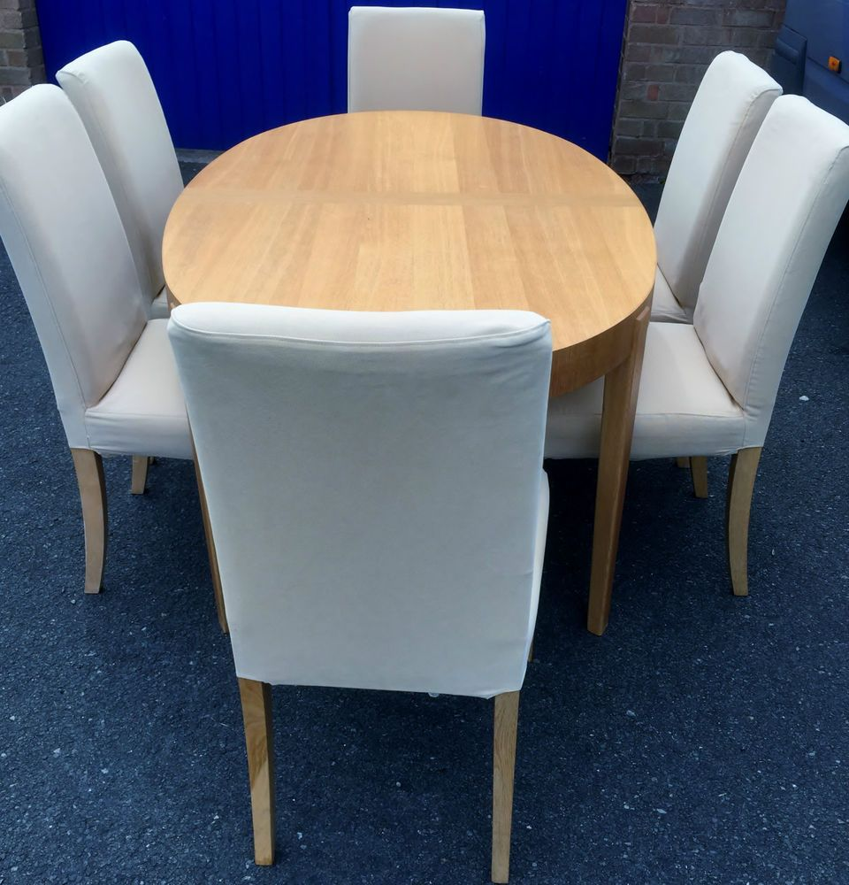 oval dining table and 6 chairs ikea table cream light wood chairs
