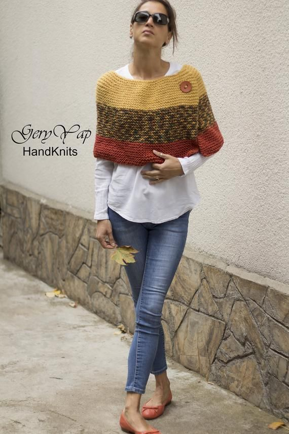 Women's wool poncho shrug cape hand knit yellow multicolored orange chunky knit poncho sweater READY TO SHIP hand made
