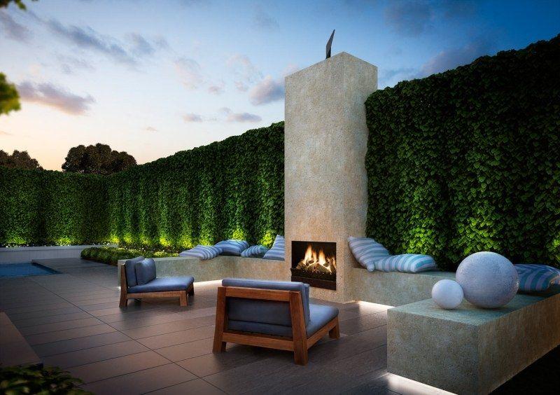 Sitzgruppe Im Garten Mit Gartenbank Aus Beton Und Eichenholz ... Moderne Dachterrasse Unterhaltungsmoglichkeiten