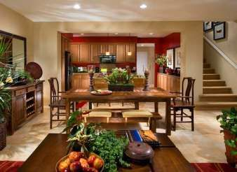 Paint Color 8223m Sienna Sand On All Walls With Ac116n Roasted Pepper Accent In Kitchen Photo Courtesy Of Brookfield Homes